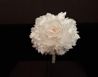 Handmade Unique White Kanzashi Flower Headband