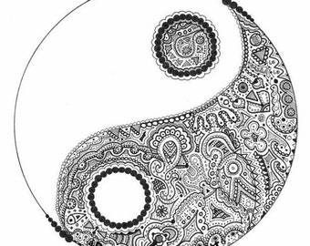 Intricate detailed yin yang drawing sticker