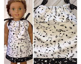 "18"" Doll Clothes/Doll Pillowcase Dress/American Girl Dress/Music Notes"
