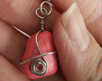 Pink Howlite Wire Wrapped Pendant