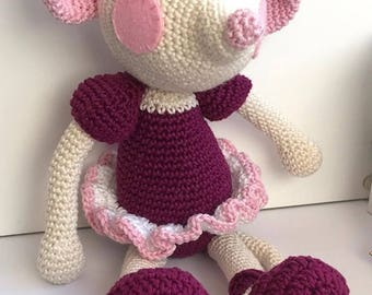 Mia the Ballerina Mouse – Crochet Amigurumi Plushie Soft Toy – BABY SAFE and UNIQUE