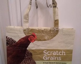recycled feed bag tote with chicken