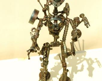 Forged transformer robot. Metal art. Loft Steampunk decor. Modern Mrt