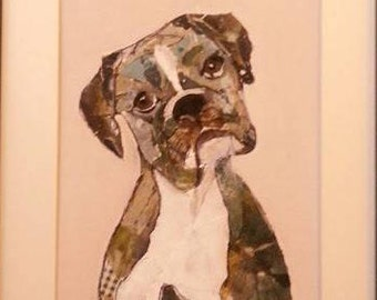 Dog Portrait - art paper collage, acryllic back, made on masonite and put in frame. Mixed media original one of a kind