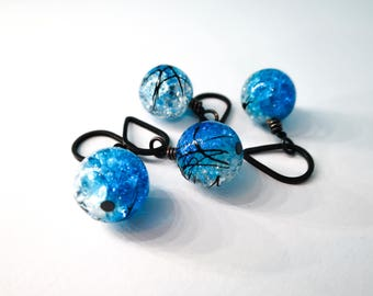 Knitting stitch markers with glass beads. Set of 4.