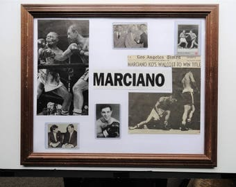 Rocky Marciano Boxing Sports Memorabilia |Rocky Marciano Boxing Collage|Marciano Framed Photograph|Marciano and Walcott Boxing|One of A Kind
