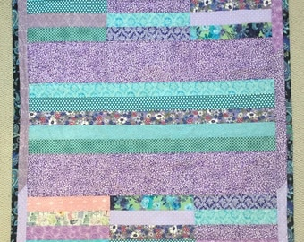 Handmade Lavender and Turquoise Strip and Block Lap Size Quilt