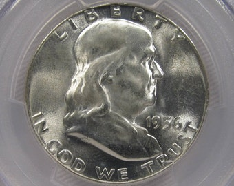 1956 Franklin Half Dollar PCGS MS64 FBL Certified Coin