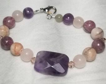 Gemstone and Swarovsky Crystal bracelet