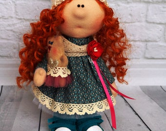Textile interior doll with a bear