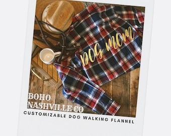 Flannel shirt, Dog Mom shirt, Gift for her , Dog Lovers Shirt, Dog Lovers Gift, custom Flannel Shirt, gold foil, Gift, COTTON Shirt