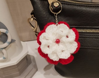 Flower key chain, unique bag charm, handmade crochet, scented, mothers day gift, gift tag