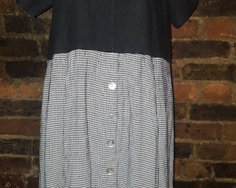 Ladies Size UK 12 14 Vintage 1990's Ralph Lauren Black White Check Tea Swing Dress