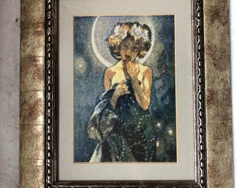 The Moon (by Alphonse Mucha) Finished Embroidery