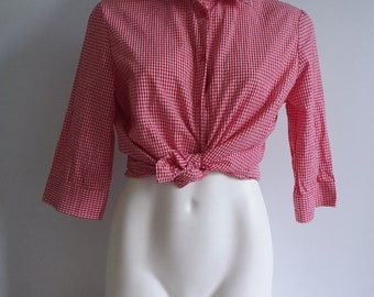 Red & White Rockabilly Shirt Plus Size