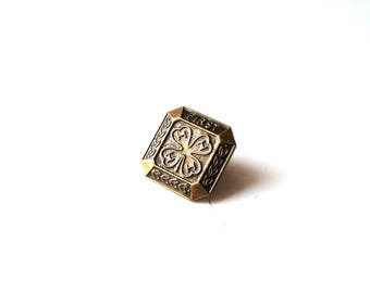 vintage 4-H lapel pin tie tack . first year, 1st year bronze pin