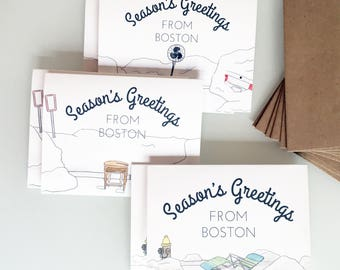 Season's Greetings from Boston - Space Saver Holiday Cards