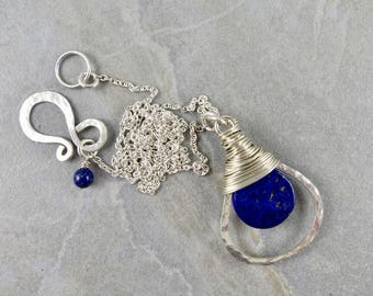 Silver Wrapped Lapis Hoop Necklace