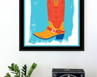 Screenprint Art - Country Valentine Howdy Love Cowboy Boot and Flowers Art Print - Silkscreen Country Life Wall Art - Home Decor
