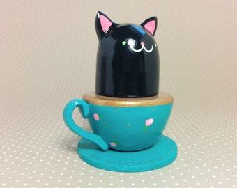 Black Teacup Kitty Figurine - Collectible Miniature Clay Figure