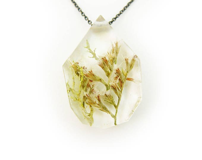 Tiny White Flower and Terrarium Necklace