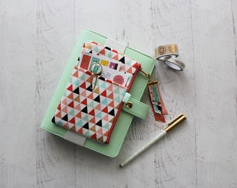 Triangles journal accessories bag - mini chunky planner cover - planner pouch with elastic - ribbon tassel charm