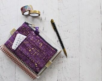 Ultraviolet cork print journal accessories - mini happy planner cover - elastic planner pen holder - cork zippered pouch - ultraviolet bag