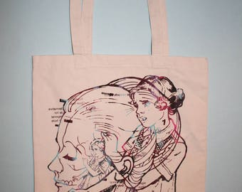 screen print, silkscreened tote, canvas tote, hand silkscreened tote, multicolor print, metamorph tote, natural bag, art, one of a kind