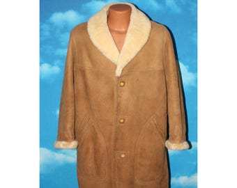 Sawyer of Napa Suede Shearling Marlboro Man Antler Button Coat Size 40 Vintage 1960s