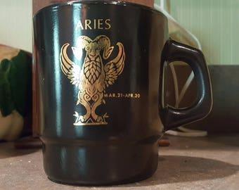 Retro Aries Fire King Milk Glass Collectible Coffee Mug