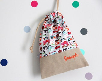Customizable drawstring pouch - cuddly toy bag - kindergarden - houses - police - fireman - hospital - school - slippers or toys bag