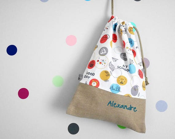 Customizable drawstring pouch - kindergarden - at school - maths - reading - white - red - orange - blue - cuddly toy - slippers - toys