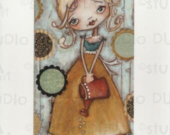 Print of my Original Whimsical Mixed Media Girl in the Garden Painting - Once Upon a Time in the GArden
