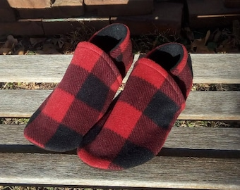 Men's Red Buffalo Plaid Slippers