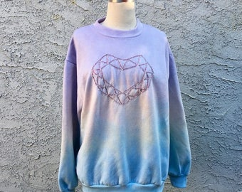 Embroidered Crystal Heart Pastel Dip Dye Ombre Sweatshirt - Size Medium/Large, One Of A Kind Handmade Glitter Magic Lavender & Blue Sparkle