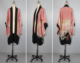 1920s / flapper / silk robe / dressing gown / HANGING GARDENS vintage kimono