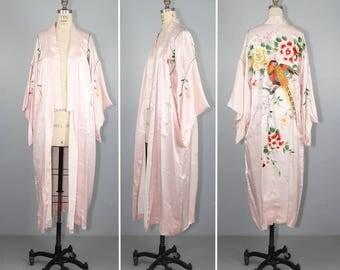 vintage kimono / embroidered / WINGED CREATURES / antique floral kimono