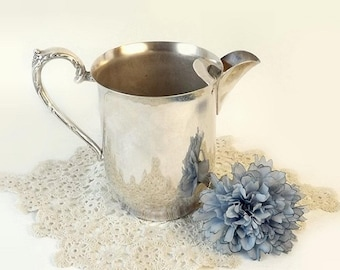 Sheridan Silver on Copper Water Pitcher, Vintage Silverplate Ice Lip Pitcher, Cottage Chic Decor