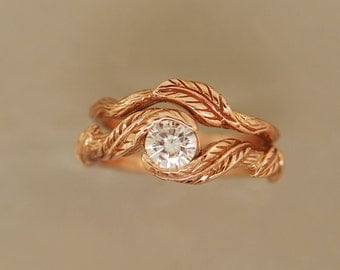 Cascading Leafs Set, rose gold,alternative engagement ring,twig ring,twig engagement ring, twig engagement ring, leaf engagement ring, l