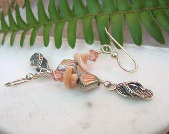 Flip flop earrings Sterling silver Summer Beach Peach Coral earrings Lisa New Design