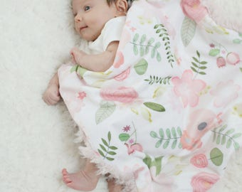 Custom Baby Blanket floral faux fur minky lovey baby gift cloud blanket llama newborn gift plush photo prop by PETUNIAS