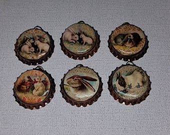 6 Bronze Bottle Caps Vintage Easter Bunny Rabbit Spring Time Charms Mini Tree Ornaments Necklaces Party Favors  Ornies Gift Ties