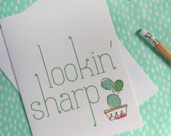 funny lookin' sharp cactus card. everyday greeting. cheeky illustrated cactus card. green for friend. keep in touch. snail mail. for him.