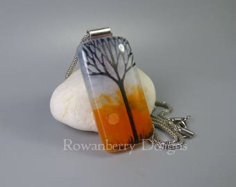 Winter Tree Silhouette - Fused & Painted Glass Pendant Necklace - Rowanberry Designs - art drawing painting FTR5