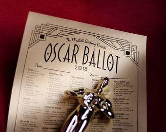 2018 Oscars Ballot-Oscars Party Game with Points System. Matches my FREE Oscar Bingo Game.