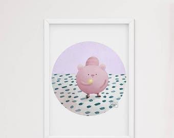 Piglet and star - art print