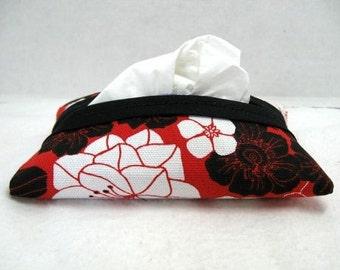 Pocket Tissue Holder Floral Chinese Red Pocket Size Tissue Cozy