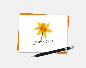 Personalized Daffodil Note Cards - Set of 10 - Folded Note Cards - Gifts for Her - Daffodil Notes - Daffodil Stationery for Her