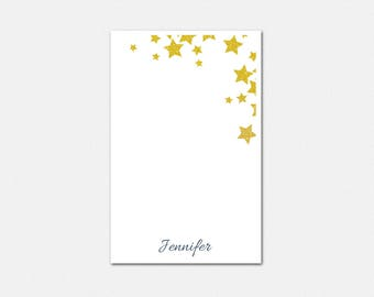 Personalized Notepad - Stargazer Notepad - Personalized Notepad - Gold Stationery - Cute Stationery for Teen Girls