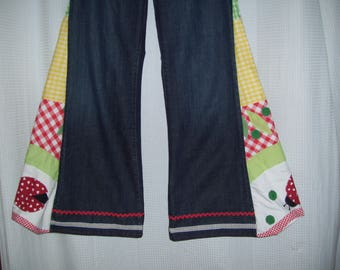Hippie Bell Bottom Jeans OOAK Upcycled Flare Jeans Lady Bug Gingham Unique Bell Bottoms GAP Adult Size 16 18 Plus Size Ready to Ship